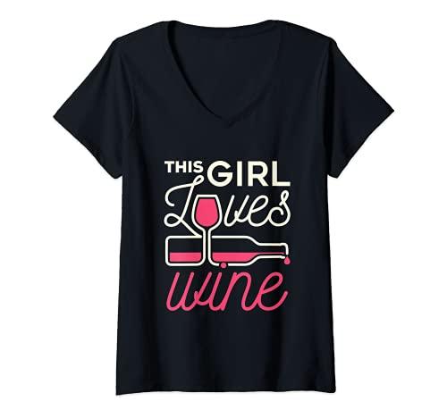 Mujer Esta chica ama el amante del vino bebedor beber degustación mujeres Camiseta Cuello V