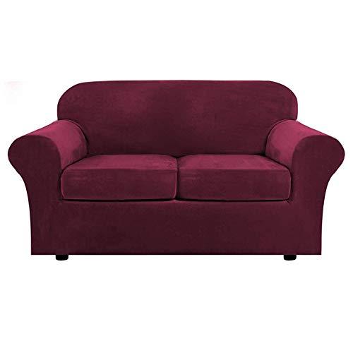 Terciopelo Funda De Sofá Elástica, 3 Piezas Cubierta para Sofá con Funda De Cojín para Sofá Suave Antideslizante Protector De Muebles para Sala De Estar-Vino Rojo-2 Plazas