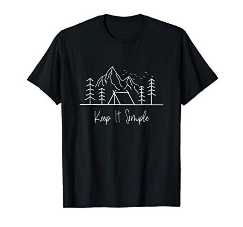 Keep it Simple Retro Natur Vanlife Camping Reisen Berge T-Shirt