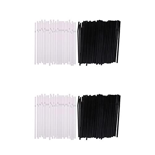 BENOHAOH 400 unids pajitas de Beber 210mm Negro Blanco Largo Flexible folleto Festivos de Boda plástico Bebiendo pajas Accesorios de Cocina
