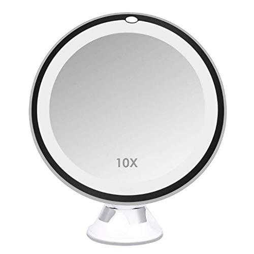 Desktop make-up spiegel, 8 inch LED make-up spiegel 10 x vergrootglas verlichte make-up spiegel met zuigvoet voor make-up en pincet, thuis en op reis