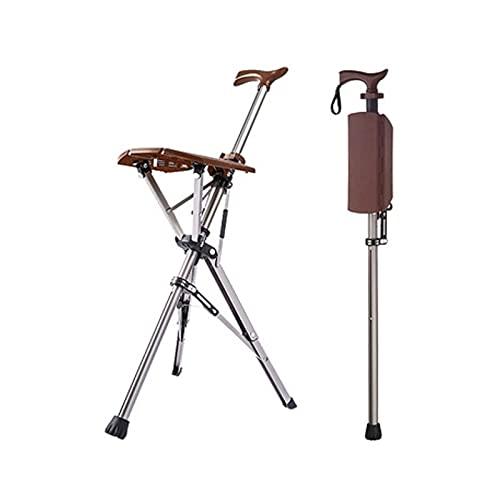 MINGDIAN Silla Plegable para bastón, Taburete para bastón para Ancianos, Taburete Ligero para bastón, Silla Delta, bastón