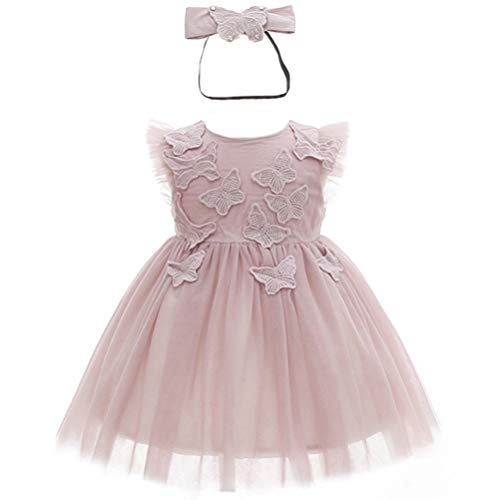 Monimo Baby Mädchen Prinzessin Kleid Taufkleid Festlich Kleid Hochzeit Partykleid Festzug Babybekleidung,Rosa Lila1,0-6 Monate