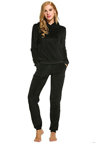 Unibelle dames trainingspak, huispak velours hoodie en broek joggingpak jumpsuit tracks maten sportkleding trekkoord tassen S-XXXL