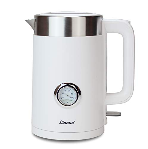 Linnuo Wasserkocher Weiß Edelstahl Temperaturanzeige 1,7L 2200W - ideal für Kaffee Tee - Doppelwand - Schutz vor Verbrennung - Electric Kettle - abnehmbarer Kalkfilter & Kunststoffteil innen BPA-frei