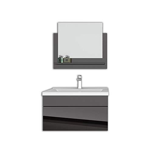 Home Deluxe - Badmöbel-Set - Wangerooge schwarz - M - inkl. Waschbecken und komplettem Zubehör - Breite Waschbecken: ca. 60 cm