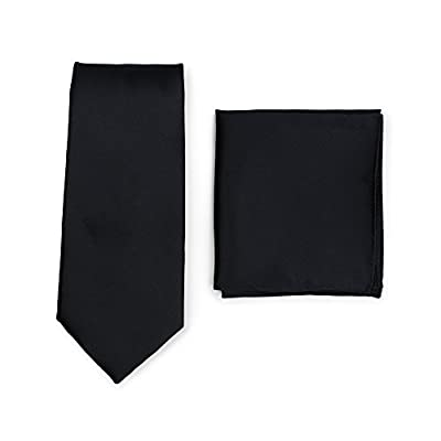 Bows-N-Ties Men's Solid Necktie and Pocket Square Set