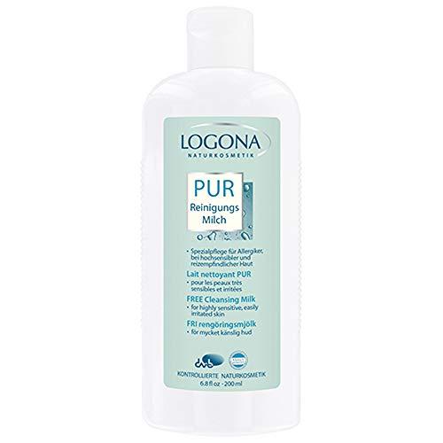 LOGONA Naturkosmetik PUR Reinigungsmilch, Klärt & erfrischt die Haut mit milden Waschsubstanzen natürlichen Ursprungs, 200ml