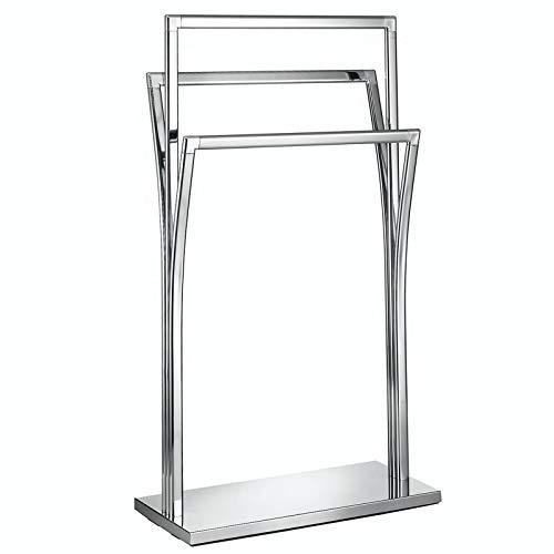 CARO-Möbel Handtuchständer Malmo mit 3 geschwungen Stangen, moderner Handtuchhalter, Badetuchhalter aus verchromtem Metall
