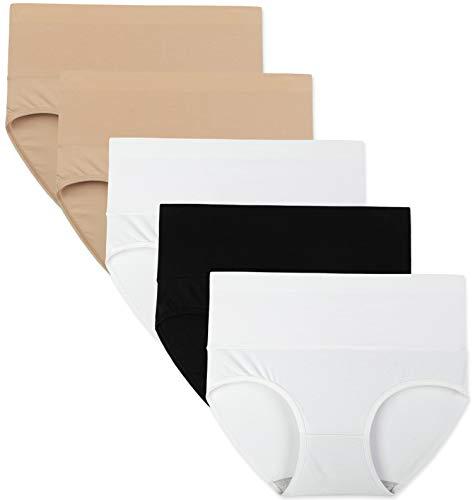 INNERSY Unterhosen Damen Hohe Taille Schlüpfer Baumwolle Sommer Schwarz Weiß 5er Pack (L, Schwarz/Weiß/Kamel)