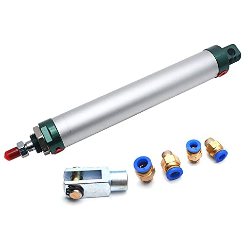 Sydien MAL Series 32mm Bore 250mm Stroke Single Rod Pneumatic Air Cylinder with Y Connector and 4Pcs Pneumatic Quick Fitting (MAL32X250)