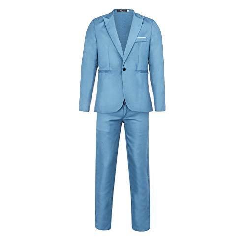 DAY8 Vestito Elegante Uomo Cerimonia Abito Uomo Slim Fit Economico Vestiti Uomo da Matrimonio Sposo Affari Festa Completo Uomo Eleganti Taglie Forti Giacca Blazer + Pantaloni Set (Azzurro, XXXL)