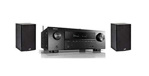 Denon AVR-X1600H 7.2-Kanal AV-Receiver (WiFi, Bluetooth, 4k, HDCP2.3, eARC, AirPlay 2, HEOS, Alexa kompatibel) + Polk Audio T15 Regal-Lautsprecher (Paar) schwarz