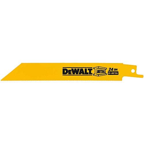 DEWALT Reciprocating Saw Blades, Straight Back, 4-Inch, 24 TPI, 5-Pack (DW4812)