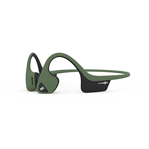 AfterShokz Air Open-Ear Wireless Bone Conduction Headphones with Brilliant Reflective Strips, Forest Green, AS650FG-BR