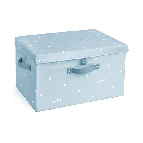 JINQIANSHANGMAO Containers Clothes Quilt Storage Box With Lids Large Capacity Fabric Folding Cloth Organizer Closet Organizer Book Toys Blanket Storage Box (Color : Blue, Size : M)