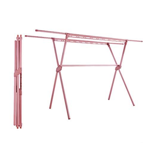 WQTR Tendedero Tendedero,Suelo Toalla Plegable tendedero Doble Polo X-Tipo de Barras de aleación telescópica de lavandería Secado,Libre de la instalación,1.5-2.4M,Cherry Pink Secado Plegado
