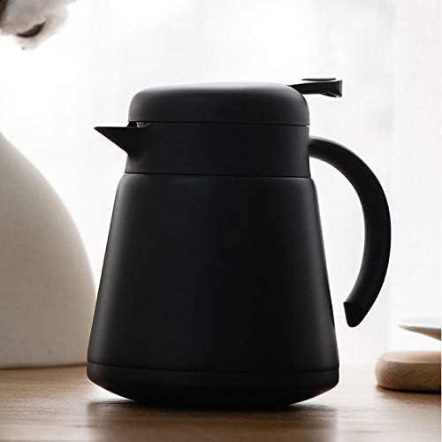 thermosflessen Vacuümkruik, Isolatiepot Huis Roestvrij Staal Een Druk Op De Knop Kokende Waterfles Kantoor Koffietheepot pot(Color:Wit) Zwart