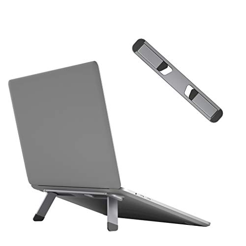 "Avankin Laptop Cooling Stand, Aluminum Portable Foldable Ergonomic Notebook Lift Holder for Desk, Table, Compatible with MacBook Air Pro, Dell XPS, HP, Lenovo and More 10-15.6"" Laptops – BS103 (Gray)"