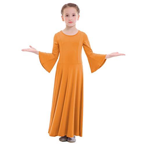 OBEEII Niñas Vestido Liturgico Danza Maillot Leotardo Gimnasia Disfraz de Baile Clásica Combinación para Danza Iglesia Ceremonia Casual 003 Naranja 3-4 Años