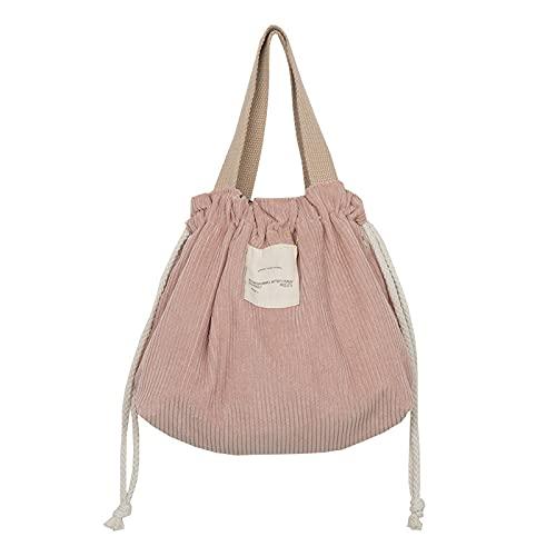 Sac Repas Velours Côtelé,Tote Lunch Box Bag pour Femmes les Employés de Bureau et Étudiant,BLUE (Bleu) (Pink)