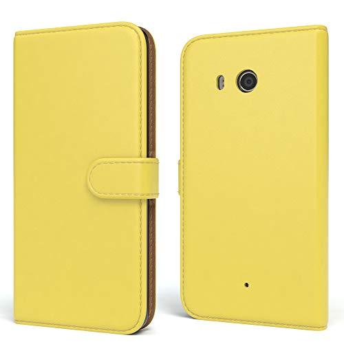 EAZY CASE HTC One Mini 2 Hülle Bookstyle mit Standfunktion, Book-Style Case aufklappbar, Schutzhülle, Flipcase, Flipstyle, Flipcover mit 2 Kartenfächern aus Kunstleder, Gelb