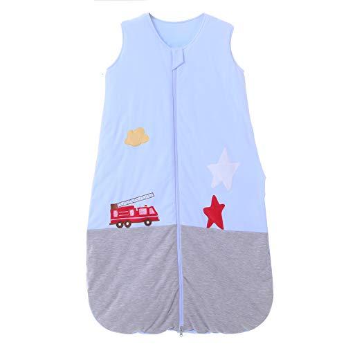 Saco de dormir para bebé, de algodón, gris y azul, para niños y niñas. - 2,5 TOG Feuerwehrauto. azul/gris Talla:130CM/3-6Jahre