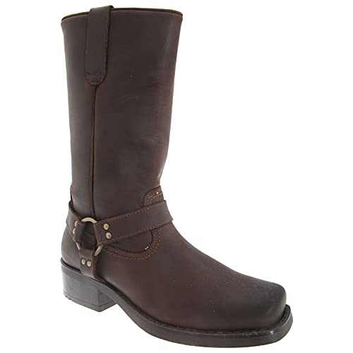 Ukayed Men's 11 inch Leather Pull On Western Harness Cowboy Biker Boots 8 UK Dark Brown