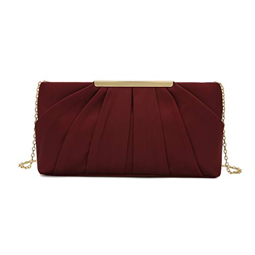 Charming Tailor Clutch Evening Bag Elegant Pleated Satin Formal Handbag Simple Classy Purse for Women (Burgundy)