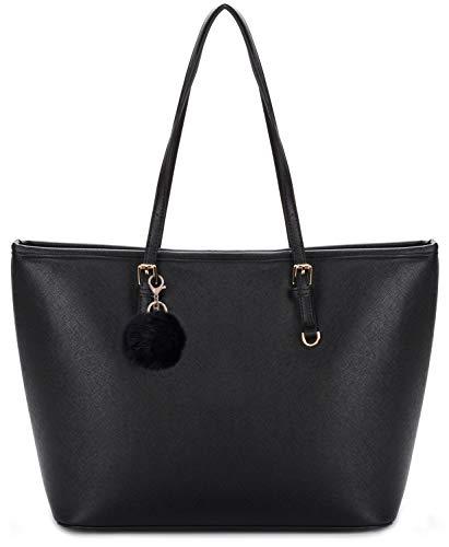 Damen Handtasche, COOFIT Shopper Handtasche Schwarz Damentasche PU Leder Handtasche Elegant Groß Damen Tasche für Schule Einkauf mit Pompon Charme