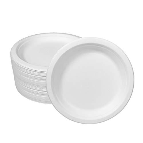 Ecorigin Platos Desechables de Papel de caña de azúcar. Pack de 100 Unidades y 18 cm. Platos Desechables biodegradables y compostables.