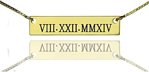 Collar kyznx de plata de ley 925, collar de barra con número romano personalizado, colgante de fecha de boda, regalo para amantes, 14.0 chapado en oro