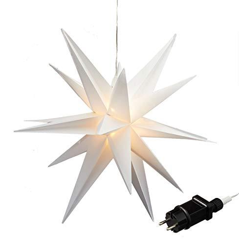 Weihnachtsstern beleuchtet mit Timer und Netzteil - 60 cm - Weihnachts Fenster Deko Stern weiß für Innen und Außen
