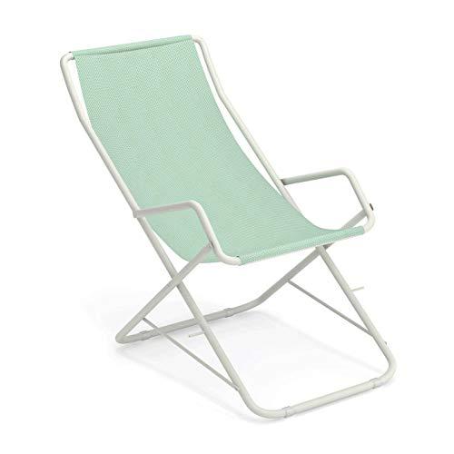 Bahama Liegestuhl, citronella weiß Sitzfläche EMU-Tex citronella BxHxT 58x95x108cm Gestell Stahl weiß