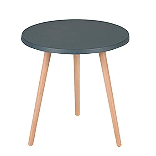 JCNFA Tavolini da caffè Tavolino laterale Mid-Century moderno con vassoio rotondo,Comodino, gambe in legno massello per soggiorno, tavoli di accento economici(Size:17.12*17.12*18.89in,Color:dark gray)