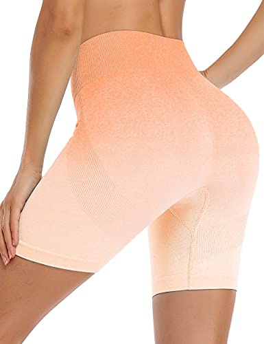 Vigorics Shorts for Women Casual Summer,High Waist Tummy Control Soft Butt Lifting Leggings Stretchy Sweat Absorption Seamless Active Sexy Flex Breathable Tights Gradient Orange L