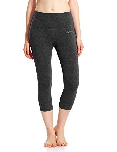 BALEAF Leggings for Women Capri High Waisted Yoga Pants Tummy Control Non See-Through Fabric Charcoal Size L