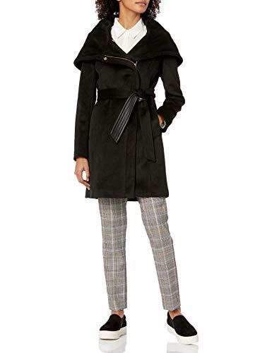 Cole Haan Women's Belted Asymmetrical Wool Coat, Black, 10