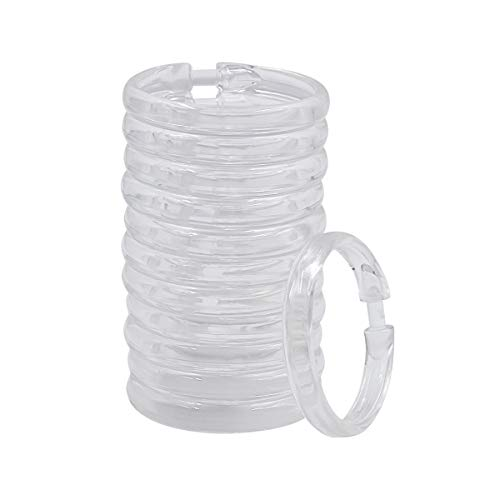 12 Packs Shower Curtain Rings Plastic Curtain O Rings Hook Hanger for Bathroom Shower Window Rod