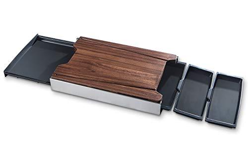 Schneidbox Nussbaum - Schneidebrett Mit 4 Auffangschalen Im Edelstahlkasten - Patentiertes Trennsystem - Made In Germany - 46 x 30 x 7 cm