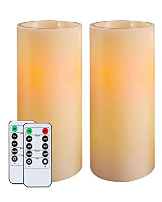 """Homemory 9"""" Flameless Candles Battery Operated, Flickering Amber Yellow Light LED Pillar Candles with Timers and 2 Remote Controls, Unscented Wax, for Gift and Decoration, Indoor Only, Set of 2"""