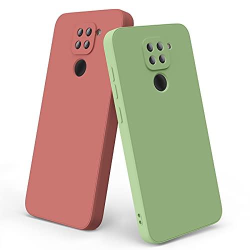Wanme 2-Pezzi Cover Compatibile con Xiaomi Redmi Note 9 Custodia, Silicone Custodia, Protezione Full Body, Cover Antiurto con Fodera in Microfibra per Redmi Note 9 (Rosso + Verde Chiaro)