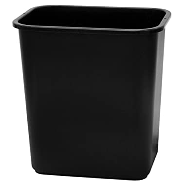 United Solutions WB0058 Twenty Eight Quart Black Rectangular Office Wastebasket -7 Gallon 28QT/26.5L  Office Wastebasket in Black