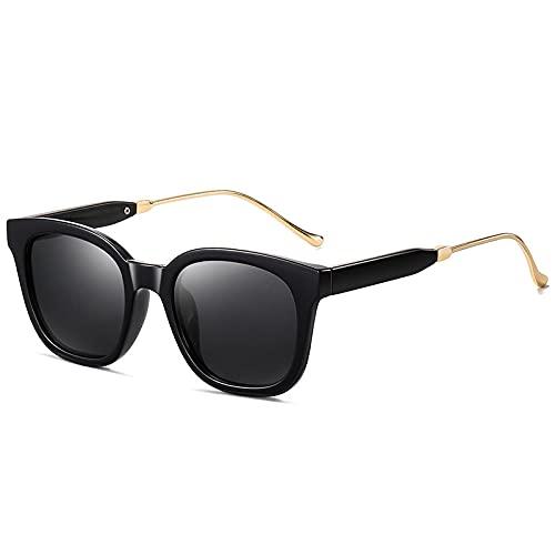 WANGZX Gafas De Sol Cuadradas Retro Polarizadas para Mujer Gafas De Moda para La Calle Gafas De Sol Retro Gafas De Sol para Conducir para Hombres Dorado