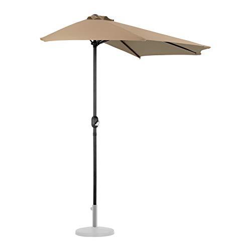 Uniprodo Parasol De Balcon Demi Lune Demi-Lune Demi-Parasol UNI_HALFUMBRELLA_R300TA (Taupe, Inclinable, Pentagonal, 270 x 135 cm, Armature en Acier)