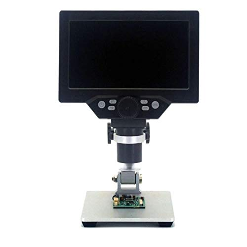 Youmine G1200 Digital Microscope 7 Inch Large Color Screen Large Base LCD Display 12MP 1-1200X Continuous Amplification Magnifier with Aluminum Alloy Stand(US Plug)