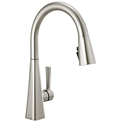 Delta Faucet Lenta Single-Handle Kitchen Sink Faucet with Pull Down Sprayer and Magnetic Docking Spray Head, SpotShield Stainless 19802Z-SP-DST