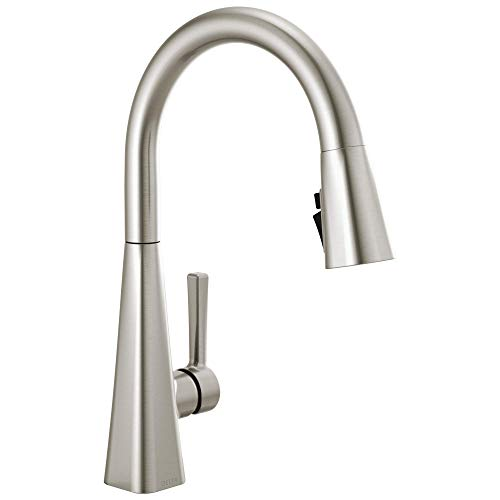 DELTA Lenta Single-Handle Kitchen Sink Faucet with Pull Down Sprayer and Magnetic Docking Spray Head, SpotShield Stainless 19802Z-SP-DST