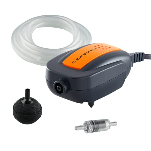 Measury Aquarium Luftpumpe AIR60 - Sehr Leise Membranpumpe Aquarium - Sauerstoffpumpe mit Schlauch, Luftstein und Rückschlagventil Set