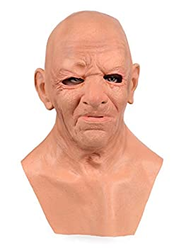 BSTANG Halloween Realistic Mask The Old Man/Young Man/Bald Head Silicone Mask Halloween Cosplay Mask Men Women Masquerade Party Mask  Bald Head